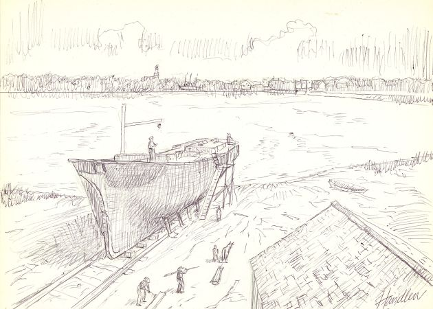 Christenson Shipyard in Lower Village by Frank Handlen