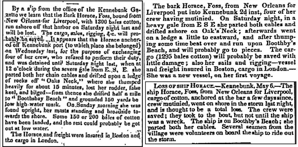 1838 newspaper reports of the wreck of the Horace