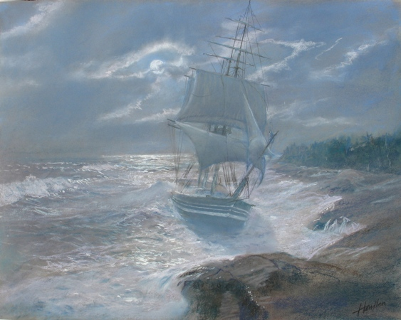 Barque Horace ashore at Kennebunk 1838