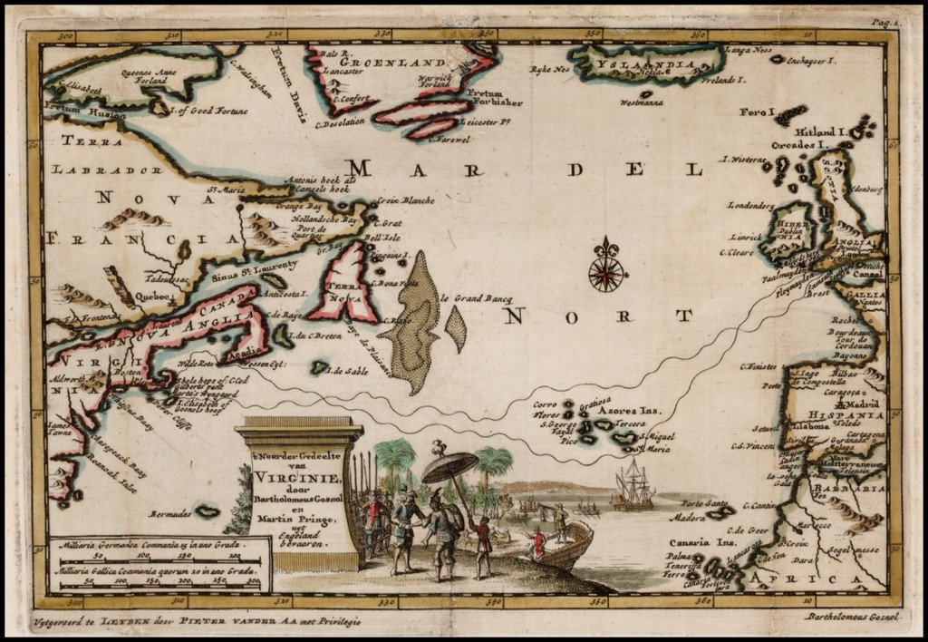 Map drawn by Pieter Vander in 1706 and included in new printing of Gabriel Archer's Account